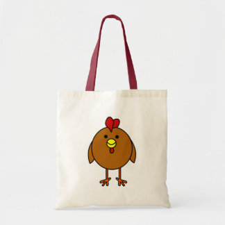 Cute Happy Chicken - Brown Budget Tote Bag