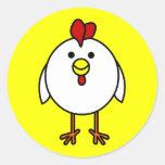 Cute Happy Chicken Classic Round Sticker