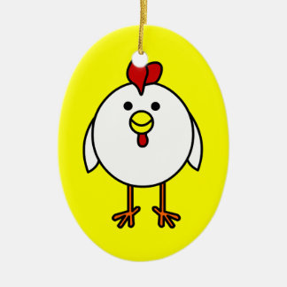 Cute Happy Chicken Customizable! Double-Sided Oval Ceramic Christmas Ornament
