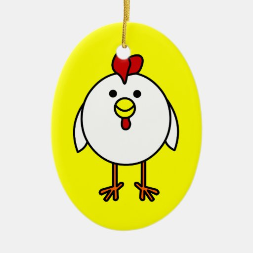 Cute Happy Chicken Customizable! Ornament
