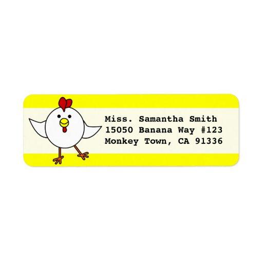 Cute Happy Chicken Dance Return Address Label