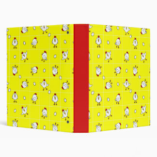 """Cute Happy Chicken Dance Yellow and Red 1"""" Binder"""