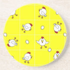 Cute Happy Chicken Dance Yellow Drink Coaster
