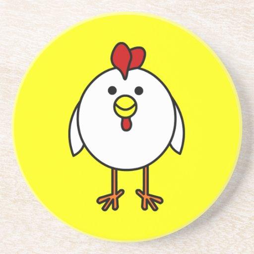 Cute Happy Chicken Drink Coaster Zazzle