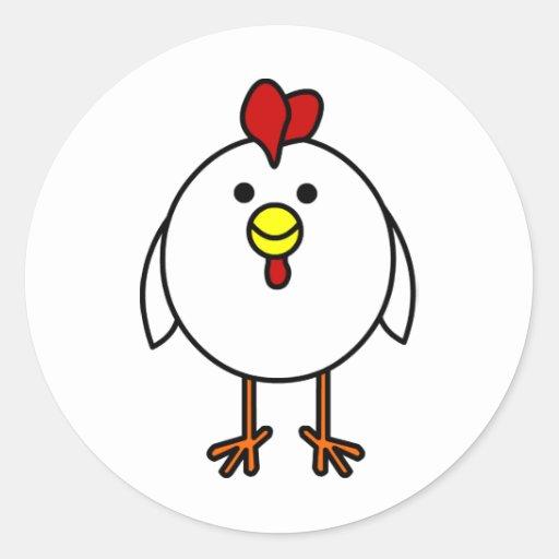 Cute Happy Chicken Round Stickers