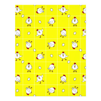 Cute Happy Chicken Yellow Scrapbook Page Letterhead