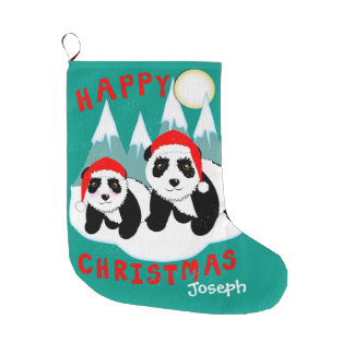 Cute Happy Christmas Panda Bears Personalized Large Christmas Stocking