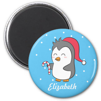 Cute Happy Christmas Penguin Candy Cane For Kids 2 Inch Round Magnet
