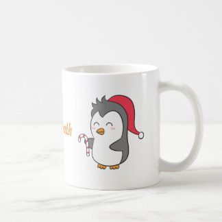 Cute Happy Christmas Penguin Candy Cane For Kids Coffee Mug