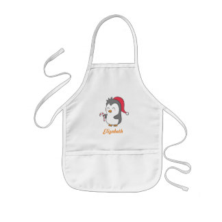 Cute Happy Christmas Penguin Candy Cane For Kids Kids' Apron