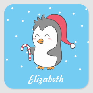 Cute Happy Christmas Penguin Candy Cane For Kids Square Sticker