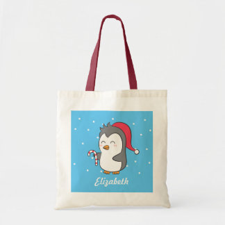 Cute Happy Christmas Penguin Candy Cane For Kids Tote Bag