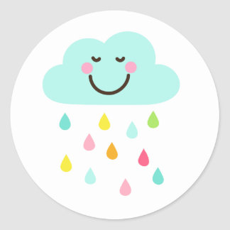 Cute happy cloud with colorful raindrops classic round sticker