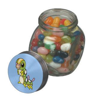 Cute Happy Colorful Caterpillar Glass Jar