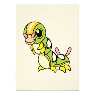 """Cute Happy Colorful Caterpillar 5.5"""" X 7.5"""" Invitation Card"""