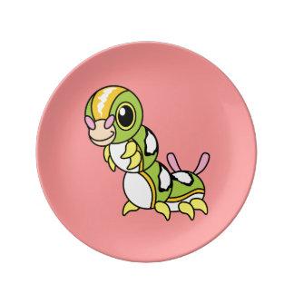 Cute Happy Colorful Caterpillar Porcelain Plate