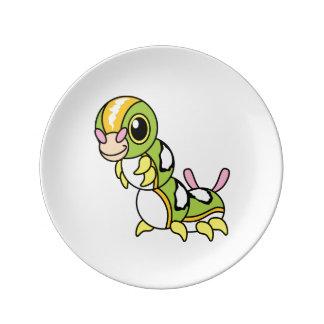 Cute Happy Colorful Caterpillar Porcelain Plates