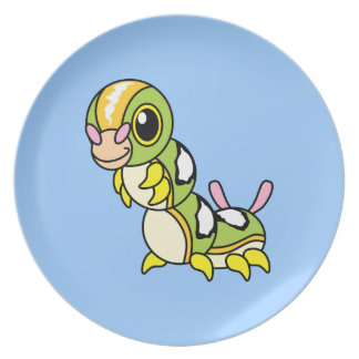 Cute Happy Colorful Caterpillar Party Plate