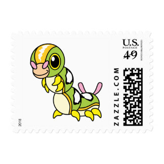 Cute Happy Colorful Caterpillar Postage Stamps