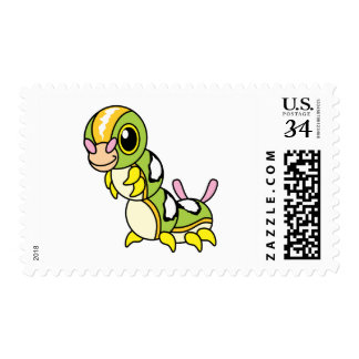 Cute Happy Colorful Caterpillar Postage Stamp