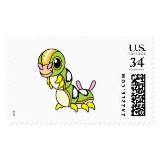 Cute Happy Colorful Caterpillar Stamp