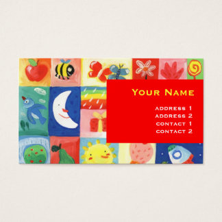 cute happy colorful pattern for kids business card
