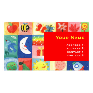 cute happy colorful pattern for kids Double-Sided standard business cards (Pack of 100)
