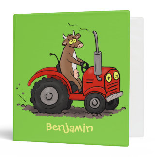 Cute happy cow driving a red tractor cartoon 3 ring binder