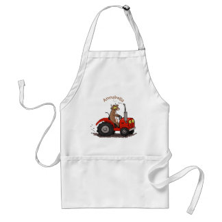 Cute happy cow driving a red tractor cartoon adult apron