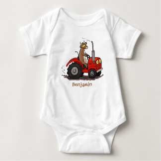 Cute happy cow driving a red tractor cartoon baby bodysuit