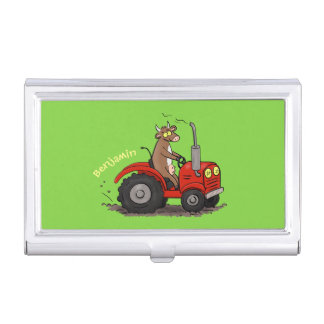 Cute happy cow driving a red tractor cartoon business card case