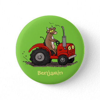 Cute happy cow driving a red tractor cartoon button