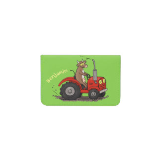Cute happy cow driving a red tractor cartoon card holder