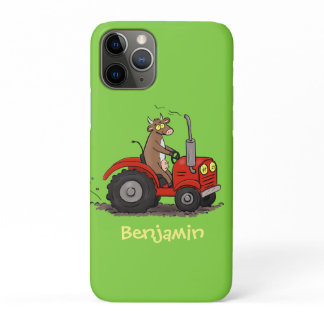 Cute happy cow driving a red tractor cartoon iPhone 11 pro case