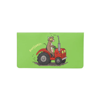 Cute happy cow driving a red tractor cartoon checkbook cover