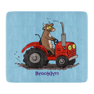 Cute happy cow driving a red tractor cartoon cutting board