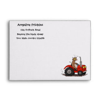 Cute happy cow driving a red tractor cartoon envelope