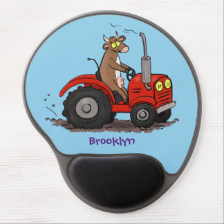 Cute happy cow driving a red tractor cartoon gel mouse pad