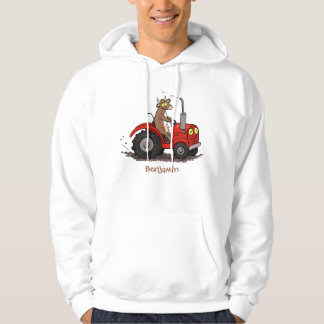 Cute happy cow driving a red tractor cartoon hoodie
