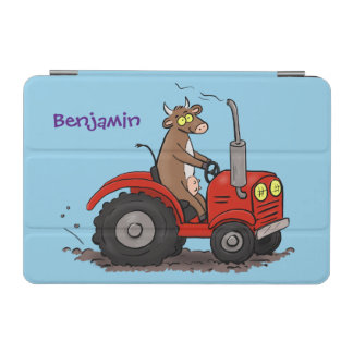 Cute happy cow driving a red tractor cartoon iPad mini cover