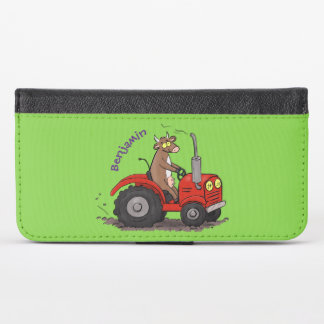Cute happy cow driving a red tractor cartoon iPhone x wallet case