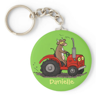 Cute happy cow driving a red tractor cartoon keychain
