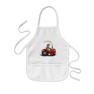 Cute happy cow driving a red tractor cartoon kids' apron