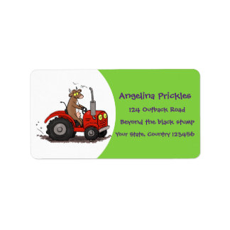 Cute happy cow driving a red tractor cartoon label