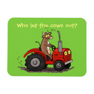 Cute happy cow driving a red tractor cartoon magnet