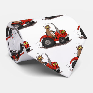 Cute happy cow driving a red tractor cartoon neck tie