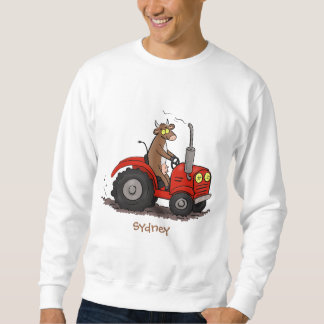 Cute happy cow driving a red tractor cartoon sweatshirt