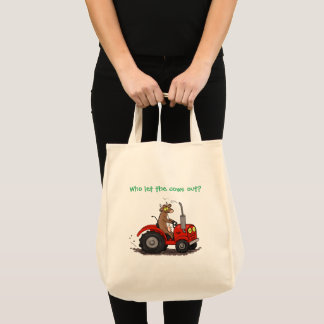 Cute happy cow driving a red tractor cartoon tote bag