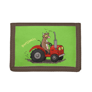 Cute happy cow driving a red tractor cartoon trifold wallet