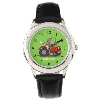 Cute happy cow driving a red tractor cartoon watch